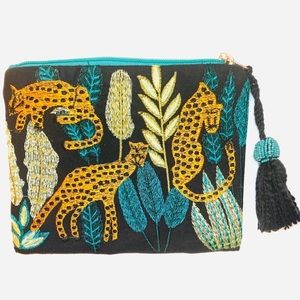 Handbags - New Embroidered Cheetah Clutch/Pouch